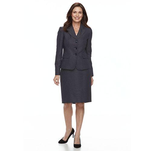 Women's Le Suit Tweed Triple Button Skirt Suit Set