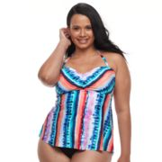 Plus Size Apt. 9® Tummy Slimmer Striped Bandeaukini Top