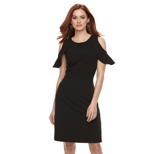 Women's Nina Leonard Cold-Shoulder Crepe Dress
