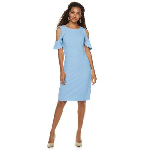 Women's Nina Leonard Cold Shoulder Crepe Dress by Kohl's