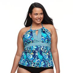 Plus Size Apt. 9® Bust Enhancer Paisley Halterkini Top