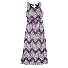 Girls 7-16 Trixxi Girl Cross Back Front Tie Chevron Maxi Dress