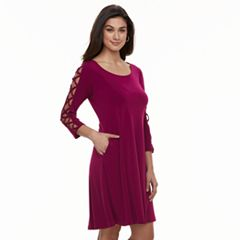 Women's Nina Leonard Strappy-Sleeve Shift Dress