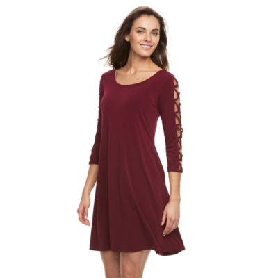 Women's Nina Leonard Strappy-Sleeve Shift Dress