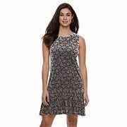 Women's Nina Leonard Floral Velvet Shift Dress