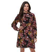 Women's Nina Leonard Floral Mockneck Shift Dress