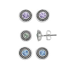 Napier Simulated Crystal Stud Earring Set