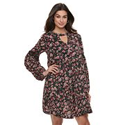 Women's Nina Leonard Floral Balloon-Sleeve Shift Dress