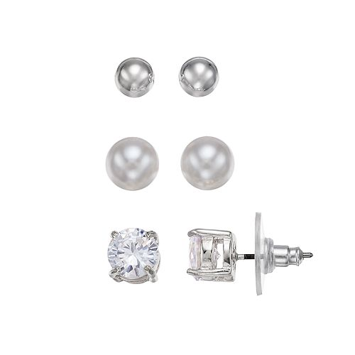Chaps Solitaire Nickel Free Stud Earring Set