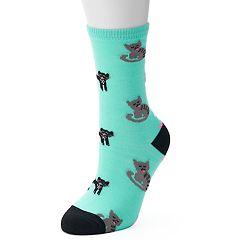 Women's Kitty Cat Crew Socks