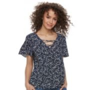 Juniors' SO® Lace-Up Floral Flutter Sleeve Top