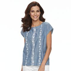 Women's Caribbean Joe Embroidered Chambray Top