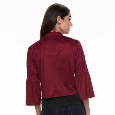 Women's Nina Leonard Bell-Sleeve Suede Bolero