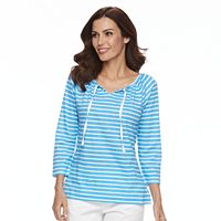 Women's Caribbean Joe Striped Tie-Neck Top