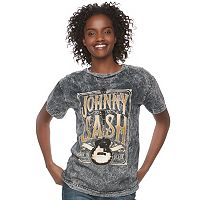 Juniors' Johnny Cash Mineral Wash Graphic Tee