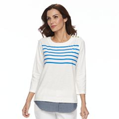 Women's Caribbean Joe Striped Chambray Hem Top