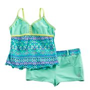 Girls 7-16 Free Country Tankini Apron Top & Shorts Swimsuit Set