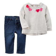 Baby Girl Carter's Felt Heart Top & Jeans Set