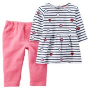 Baby Girl Carter's Stripe Heart Peplum Top & Pants Set