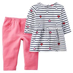 Baby Girl Carter's Stripe Heart Peplum Top & Pants Set