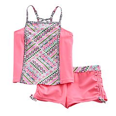 Girls 7-16 Free Country Tankini Top & Cinched Shorts Swimsuit Set