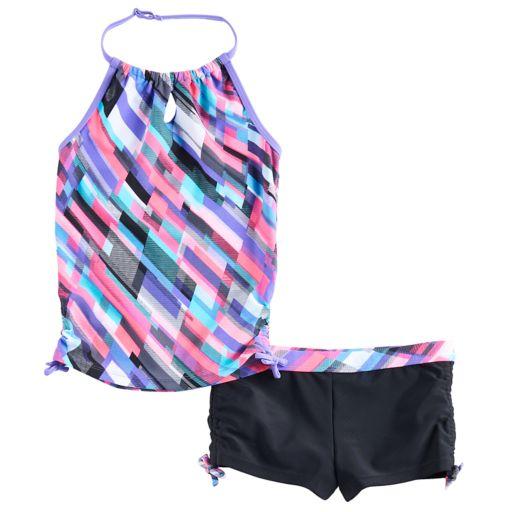 Girls 4-16 Free Country Halter Tankini Top & Shorts Swimsuit Set