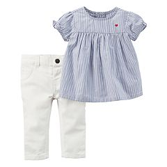 Baby Girl Carter's Striped Poplin Top & White Pants Set