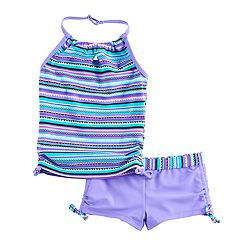 Girls 4-16 Free Country Knot Front Halter Tankini Top & Shorts Swimsuit Set