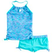 Girls 4-16 Free Country Space-Dyed Adjustable Halter Tankini Top & Shorts Swimsuit Set