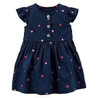 Baby Girl Carter's Navy Heart Print Dress with Bloomers