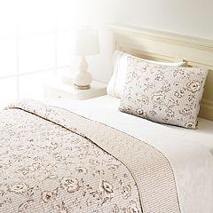 Home Classics® Sarah Pinstripe Floral Quilt