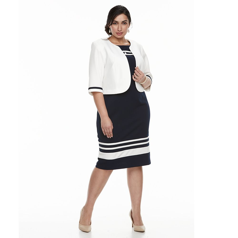 Plus Size Maya Brooke Stripe Dress & Jacket Set