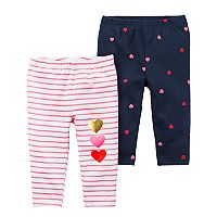 Baby Girl Carter's 2-pk Heart & Stripe Pattern Leggings