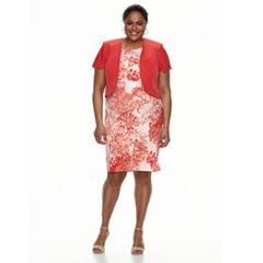 Plus Size Maya Brooke Paisley Dress & Jacket Set