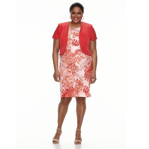 Plus Size Maya Brooke Paisley Dress Jacket Set