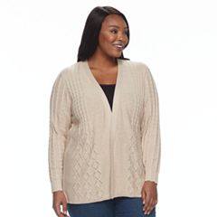 Plus Size Croft & Barrow® Cable Knit Cardigan Sweater