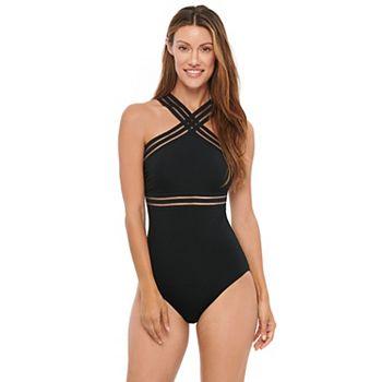 0a46df8af39 Women's Apt. 9® High-Neck Sheer Stripe One-Piece Swimsuit