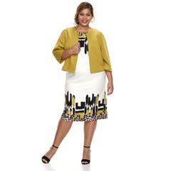 Plus Size Maya Brooke Sleeveless Dress & Jacket Set