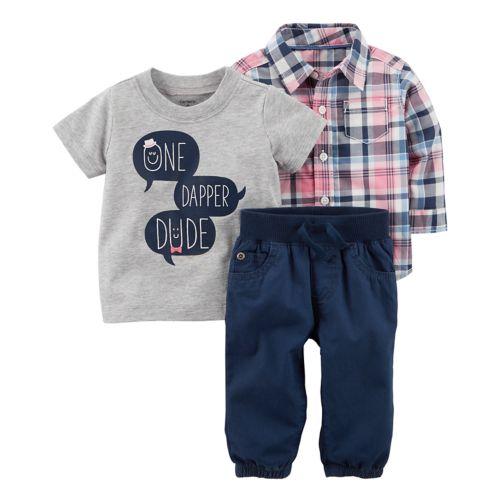 Baby Boy Carter S One Dapper Dude Tee Plaid Shirt Pants Set