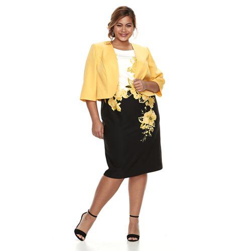 7ecec9ecafa04e Plus Size Maya Brooke Floral Dress   Jacket Set