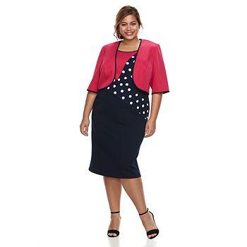 Plus Size Maya Brooke Colorblock Dress Jacket Set Null