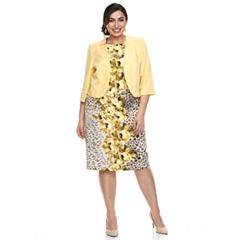 Plus Size Maya Brooke Floral Dress & Jacket Set