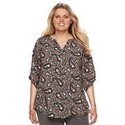 Plus Size Croft & Barrow® Smocked Printed Top