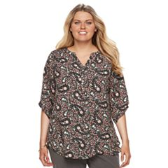 Plus Size Croft & Barrow® Smocked Printed Top
