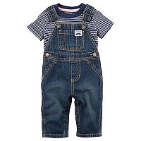 Baby Boy Carter's Striped Tee & Denim Overalls Set