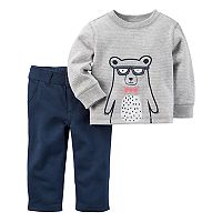 Baby Boy Carter's Striped Bear Tee & French Terry Pants Set