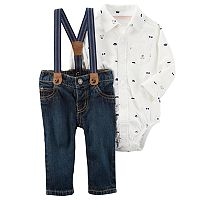 Baby Boy Carter's Bear Button-Down Bodysuit & Suspender Jeans Set