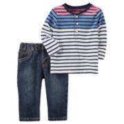 Baby Boy Carter's Striped Henley & Jeans Set