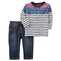 Baby Boy Carter's Striped Henley & Jeans Set
