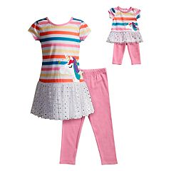 Girls 4-14 Dollie & Me Unicorn Striped Dress & Leggings Set